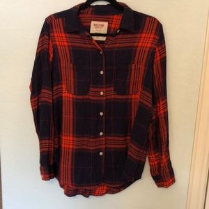 Navy and Red-Orange Plaid/Flannel Button Down